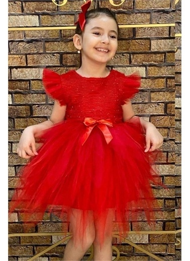 Riccotarz Kız Çocuk Omzu Tütülü Kabarık Abiye Kırmızı